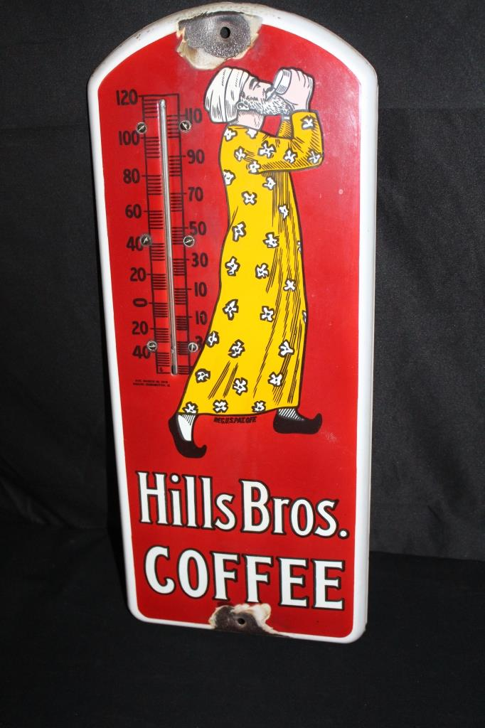 PORCELAIN HILLS BROS COFFEE THERMOMETER SIGN