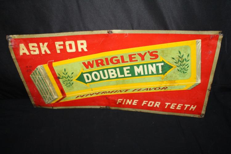 WRIGLEYS DOUBLE MINT CHEWING GUM TIN SIGN