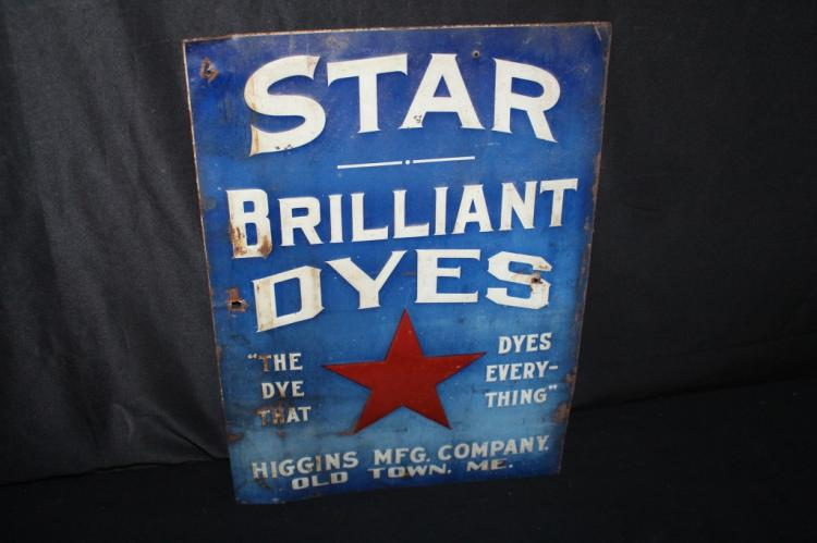 HIGGNS MFG OLD TOWNE MAINE STAR DYES TIN SIGN