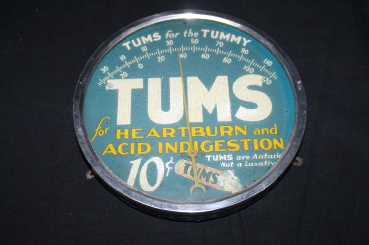 """TUMS FOR THE TUMMY 9"""" THERMOMETER SIGN"""