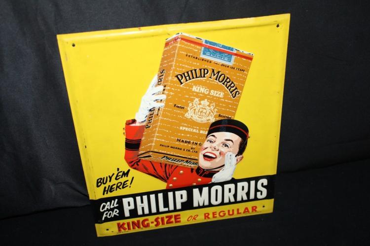 PHILLIPS MORRIS CIGARETTES BELL BOY TIN SIGN