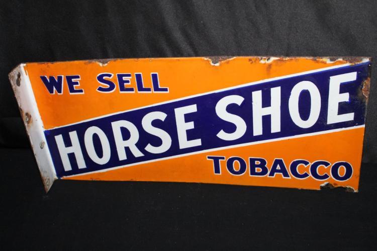 PORCELAIN HORSE SHOE TOBACCO FLANGE SIGN