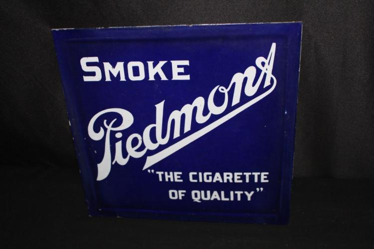 PORCELAIN PIEDMONT CIGARETTES SIGN FROM CHAIR