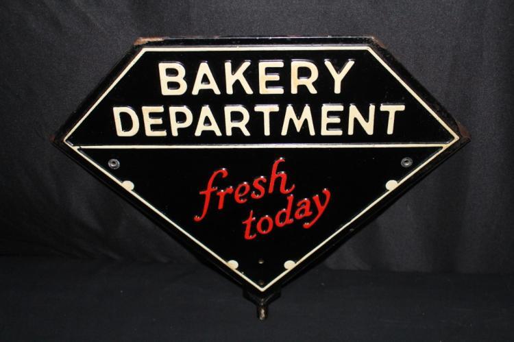 EMBOSSED BAKERY DEPT FRESH BREAD EMBOSSED TIN SIGN