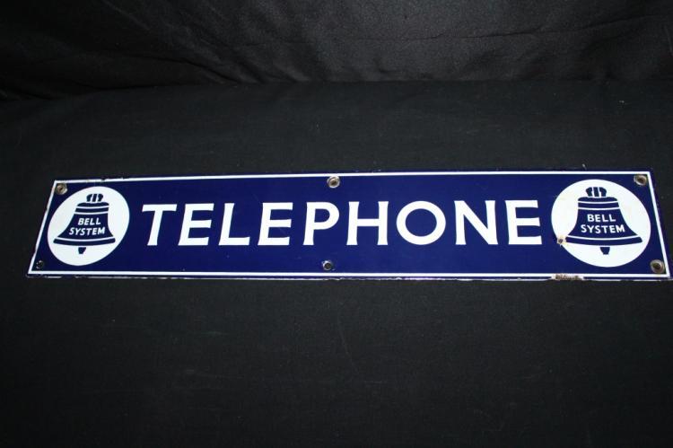 PORCELAIN BELL SYSTEM TELEPHONE SIGN