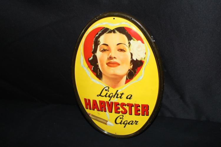 LIGHT A HARVESTER CIGAR TIN SIGN