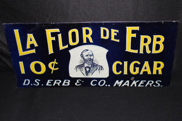 LA FLOR DE ERB 10 CENTS CIGARS TIN SIGN
