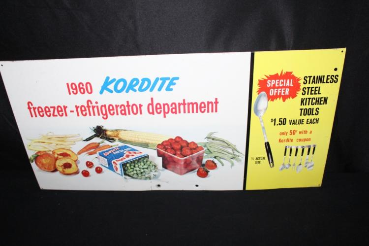 1960 KORDITE FREEZER DEPARTMENT TIN SIGN