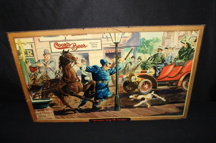COOKS BEER TIN LITHO SIGN