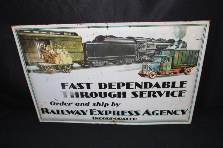 RAILWAY EXPRESS AGENCY TIN LITHO SIGN