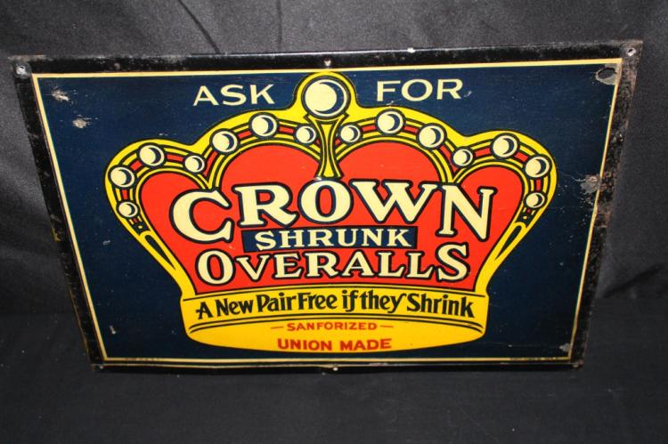 CROWN SHRUNK UNION MADE OVERALLS SIGN