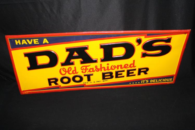 NOS DADS OLD FASHIONED ROOT BEER TIN SIGN