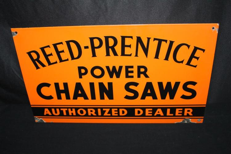 PORCELAIN REED PRENTICE POWER CHAINSAWS SIGN