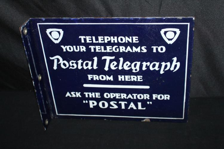 PORCELAIN POSTAL TELEGRAPH FLANGE SIGN