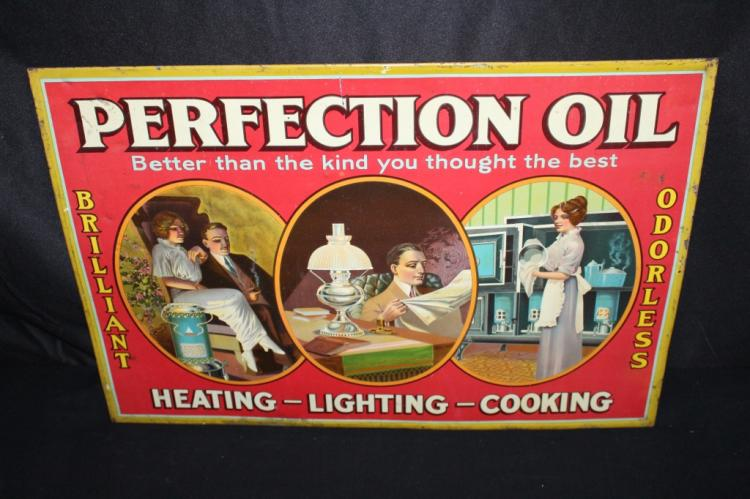 PERFECTION OIL HEATING LIGHTING COOKING TIN SIGN