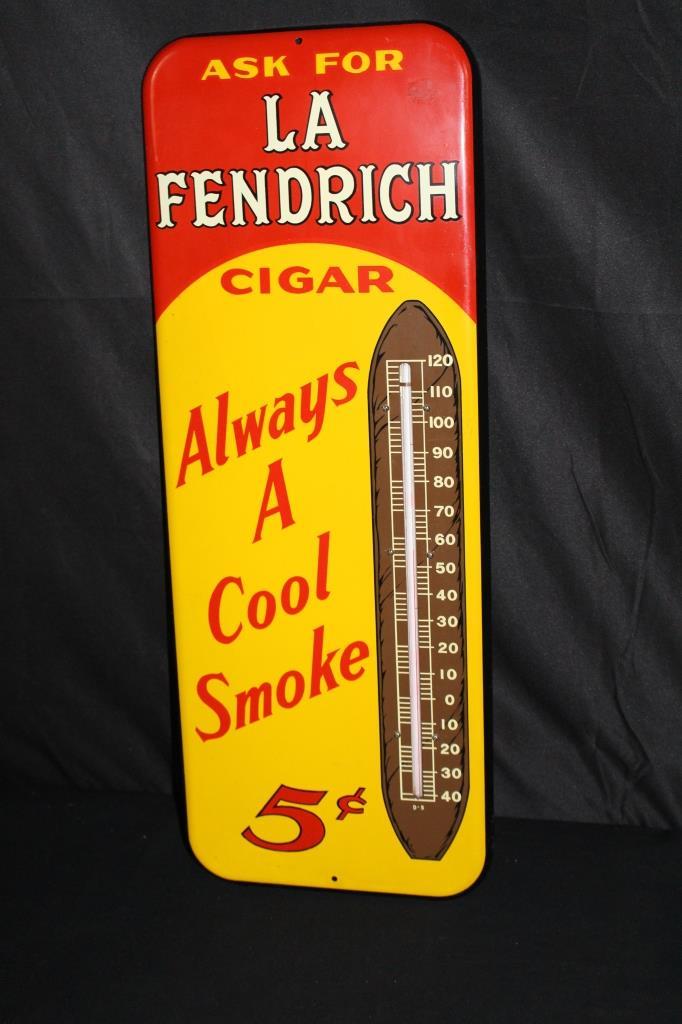 LA FENDRICH 5 CENT CIGARS THERMOMETER SIGN