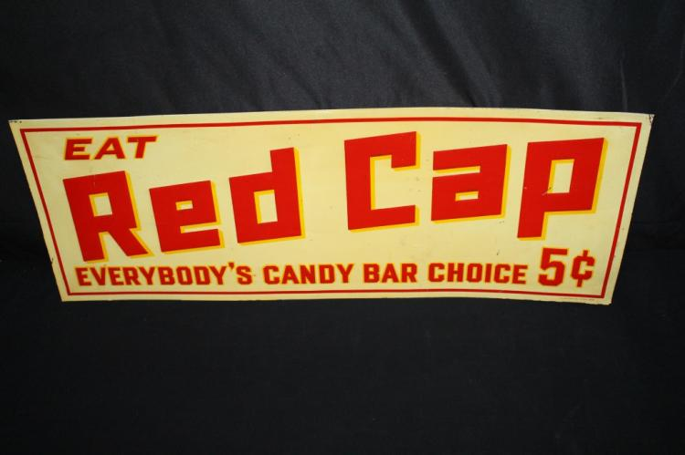 EAT RED CAP 5 CENT CANDY BARS TIN SIGN