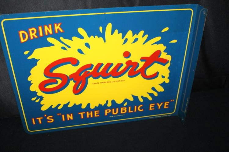 SQUIRT IN THE PUBLIC EYE SODA POP TIN FLANGE SIGN