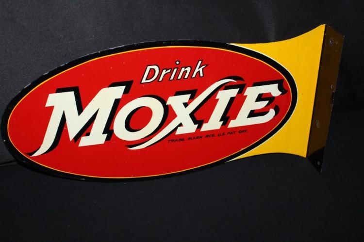 DRINK MOXIE SODA POP FLANGE SIGN