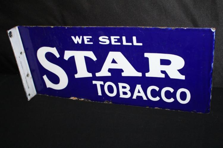 PORCELAIN WE SELL STAR TOBACCO FLANGE SIGN