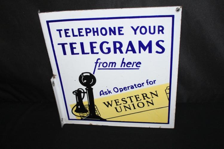 RARE PORCELAIN TELEPHONE TELEGRAMS FLANGE SIGN