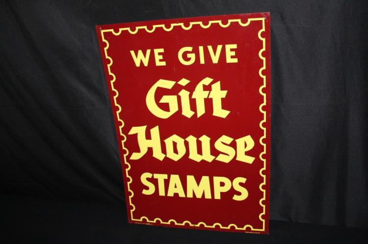 GIFT HOUSE STAMPS TIN SIGN