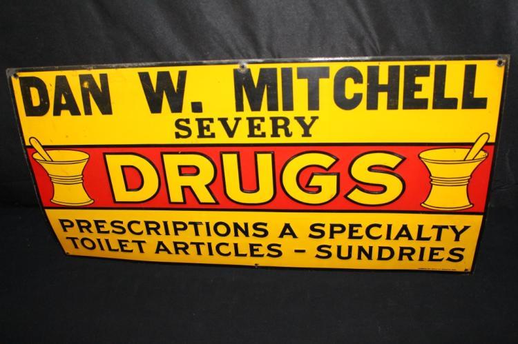 DAN MITCHELL DRUG STORE TIN SIGN