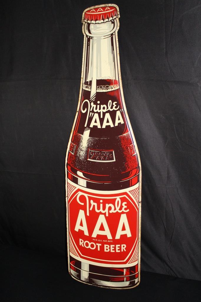 TRIPLE AAA ROOT BEER BOTTLE SODA POP TIN SIGN