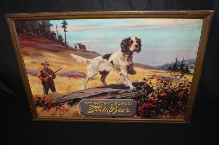 HY HINTERMEISTER TECK BEER HUNTING DOG TIN SIGN