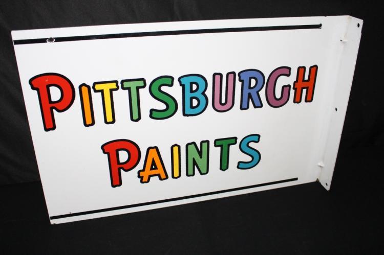 PORCELAIN PITTSBURGH PAINTS FLANGE SIGN