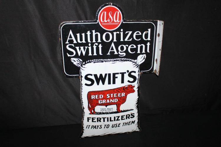 PORCELAIN SWIFTS RED STEER FERTILIZER FLANGE SIGN