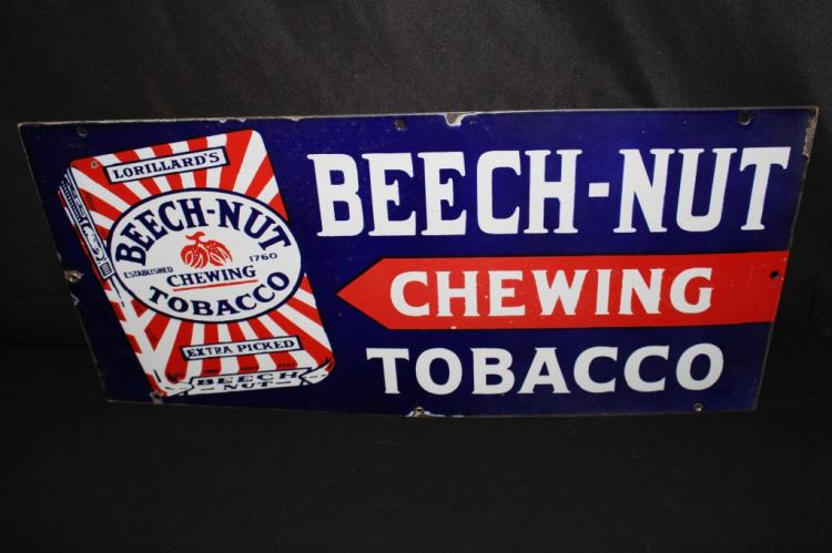 PORCELAIN BEECHNUT CHEWING TOBACCO SIGN