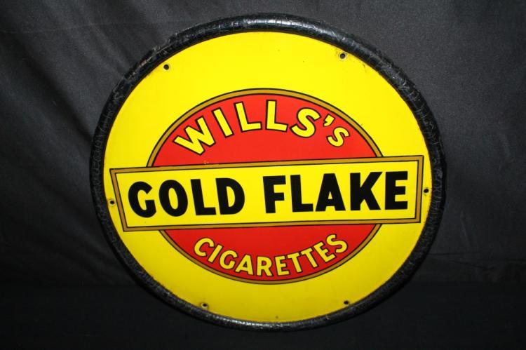PORCELAIN WILLS GOLD FLAKE CIGARETTES SIGN