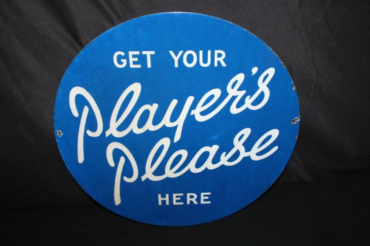 PORCELAIN PLAYERS CIGARETTES SIGN 2 SIDED