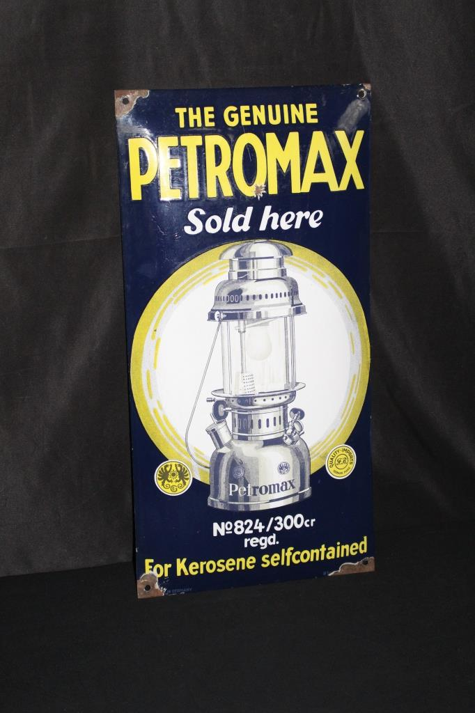 PORCELAIN PETROMAX KEROSENE LANTERN SIGN