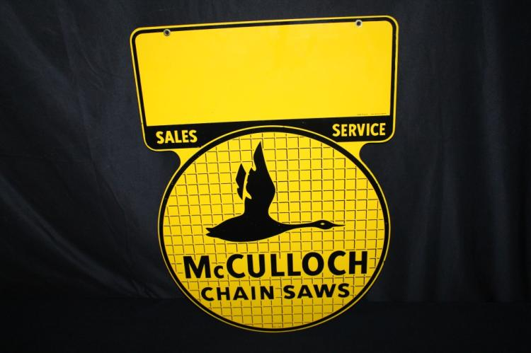 MCCULLOCH CHAINSAWS SALES & SERVICE SIGN 2 SIDED