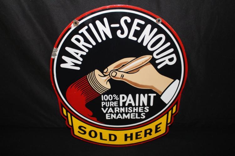 PORCELAIN MARTIN SENOUR PAINTS SOLD HERE SIGN