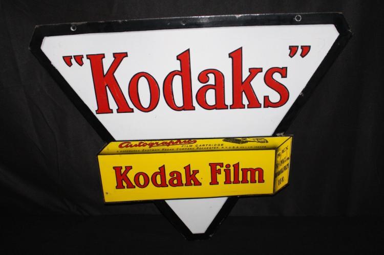 PORCELAIN KODAK AUTOGRAPHIC FILM SIGN 2 SIDED