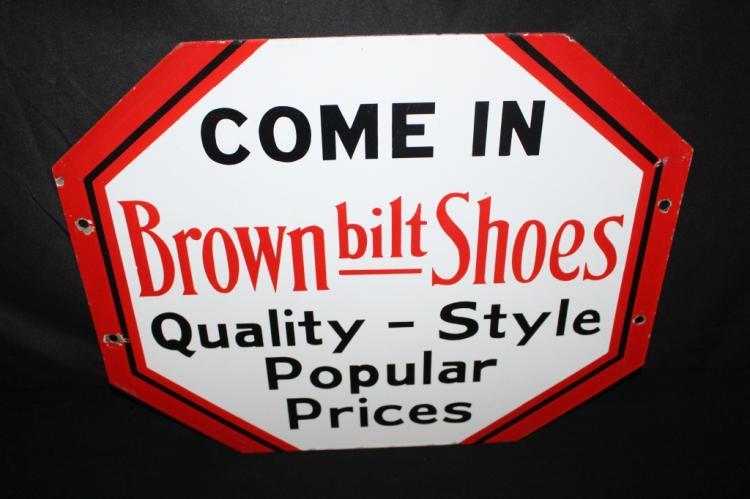 PORCELAIN BROWN BILT SHOES SIGN 2 SIDED
