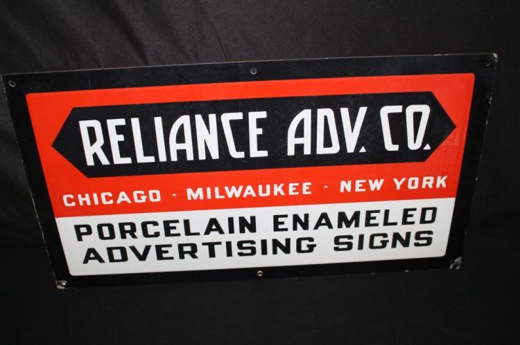PORCELAIN RELIANCE ADV CO MILWAUKEE CHICAGO SIGN