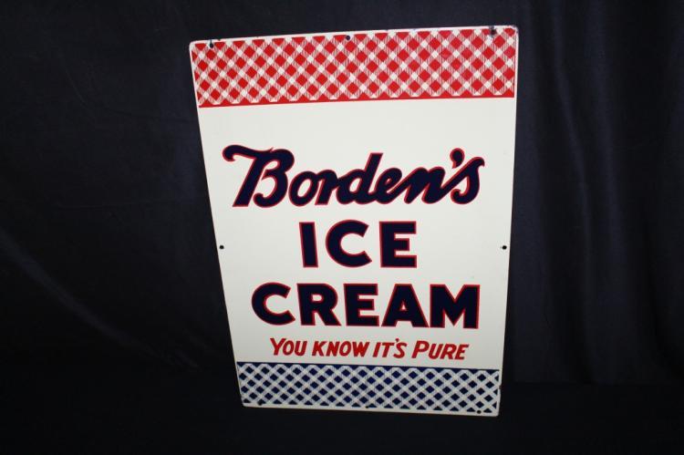 PORCELAIN BORDENS ICE CREAM SIGN 2 SIDED
