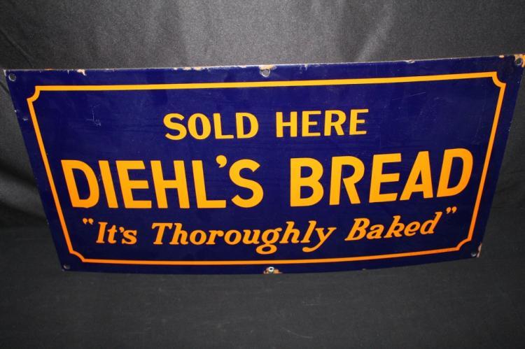 PORCELAIN DIEHLS BREAD SOLD HERE SIGN