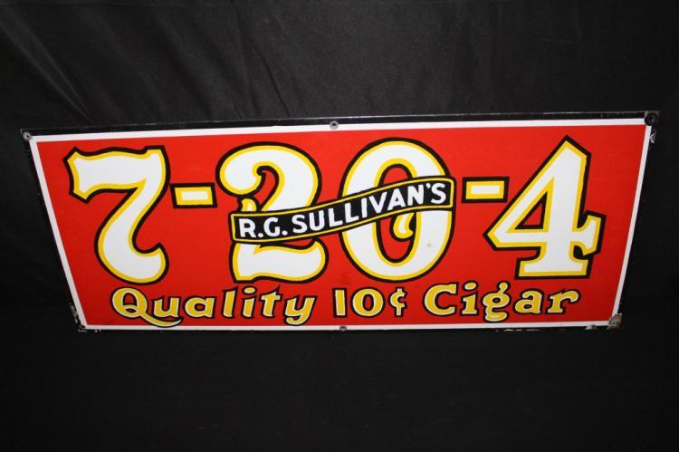 PORCELAIN 7-20-4 RG SULLIVANS 10 CENTS CIGAR SIGN