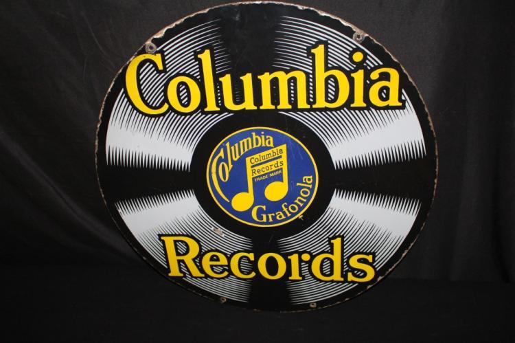 PORCELAIN COLUMBIA GRAFONOLA RECORDS SIGN 2 SIDED