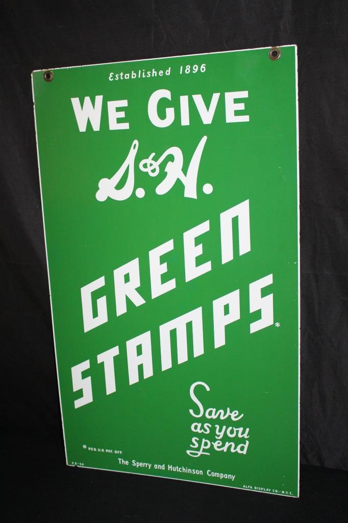 PORCELAIN SPERRY HUTCHINSON S&H GREEN STAMPS SIGN