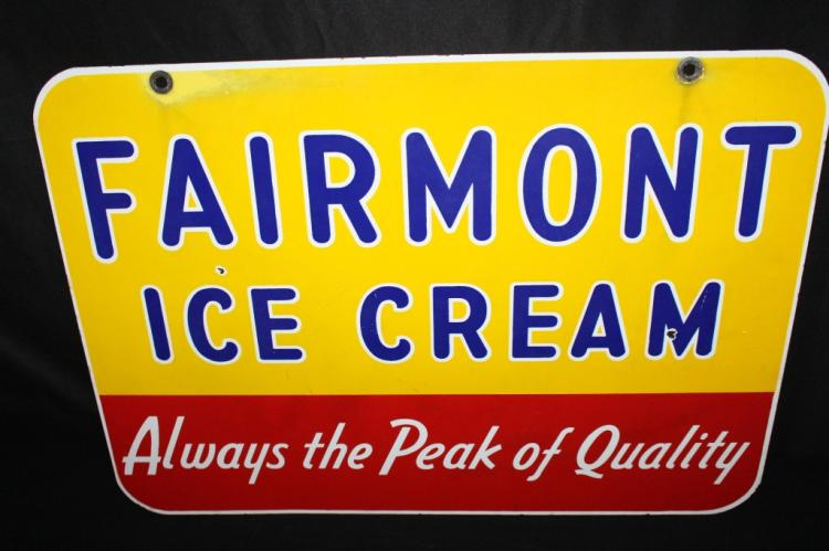Sold Price: PORCELAIN FAIRMONT ICE CREAM SIGN 2 SIDED - March 6, 0118 9:00  AM CST