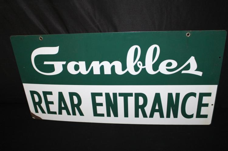 PORCELAIN GAMBLES STORE REAR ENTRANCE SIGN 2 SIDED
