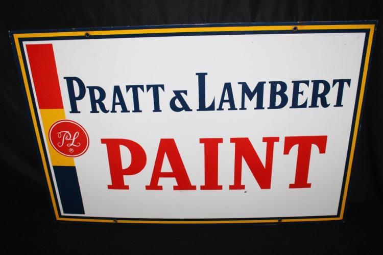 PORCELAIN PRATT & LAMBERT PAINT SIGN 2 SIDED