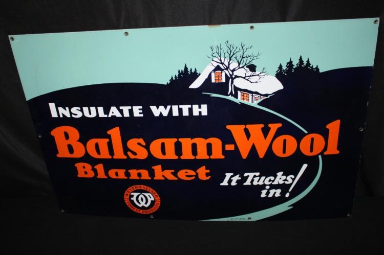 PORCELAIN WEYERHAUSER BALSAM WOOL INSULATION SIGN