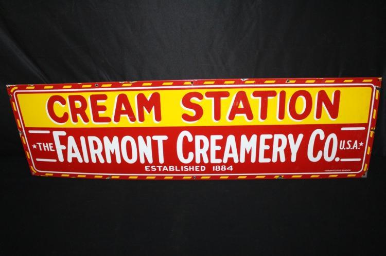 PORCELAIN FAIRMONT CREAMERY CREAM STATION SIGN